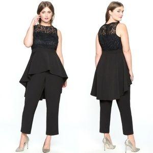 eloquii high low lace jumpsuit size 28 black